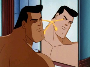 Superman The Animated Series shows Superman The Man of Steel shaving his beard 2
