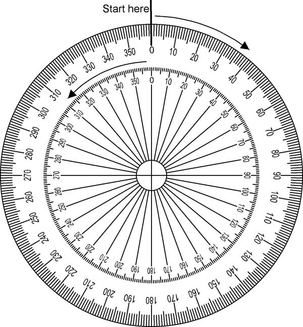 full circle protractor 360 degree sketch coloring page