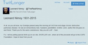 Leonard Nimoy death announcement