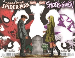 Mike McKone Hastings variant interlocking Amazing Spider-Man #17 and Spider-Gwen #3 with logos