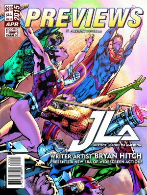 Previews April 2015 featuring JLA cover June 2015 books