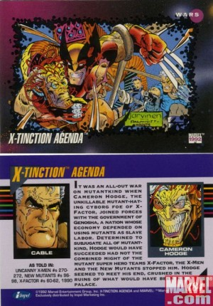 X-Tinction Agenda classic 1992 trading card front and back