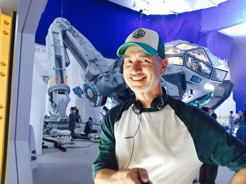 Director Roland Emmerich on the set of INDEPENDENCE DAY RESURGENCE