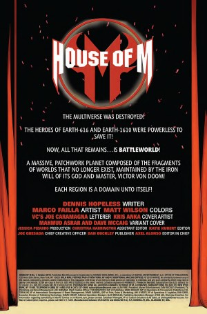 HOUSE of M #1 title page