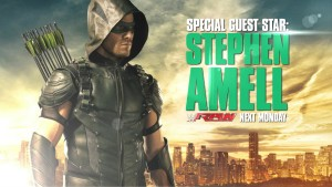 Stephen Amell as Green Arrow on WWE Raw August 10 2015