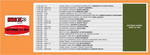 Fan Expo Canada 2015 Toronto Saturday Schedule