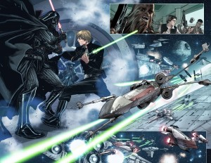 STAR WARS - SHATTERED EMPIRE #1 Luke vs. Vader two-page spread