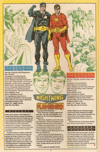Kryptonian Flambird and Nightwing Superman lore