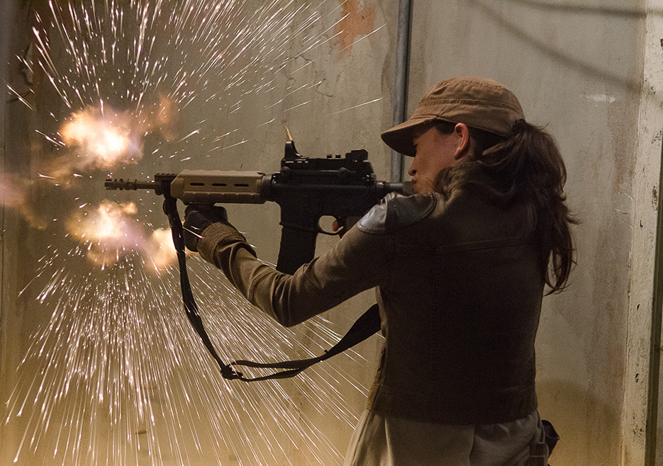 Rosita let's the bullets fly