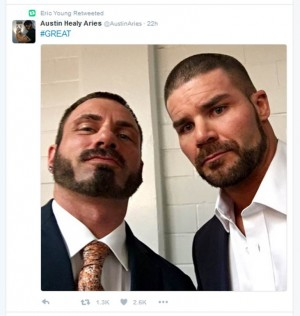 Bobby Roode backstage at NXT Takeover Dallas with Austin Aries Wrestlemania 32 weekend spoilers