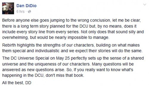 Dan DiDio Facebook comments on DC Rebirth and 2018 event