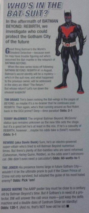 Rebirth Preview DC Comics Rebirth Spoilers  Batman Beyond