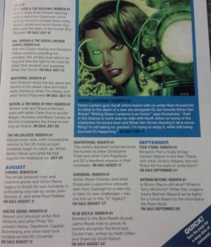 Rebirth Preview DC Comics Rebirth Spoilers  July August September 2016 Rebirth #1 specials solicits