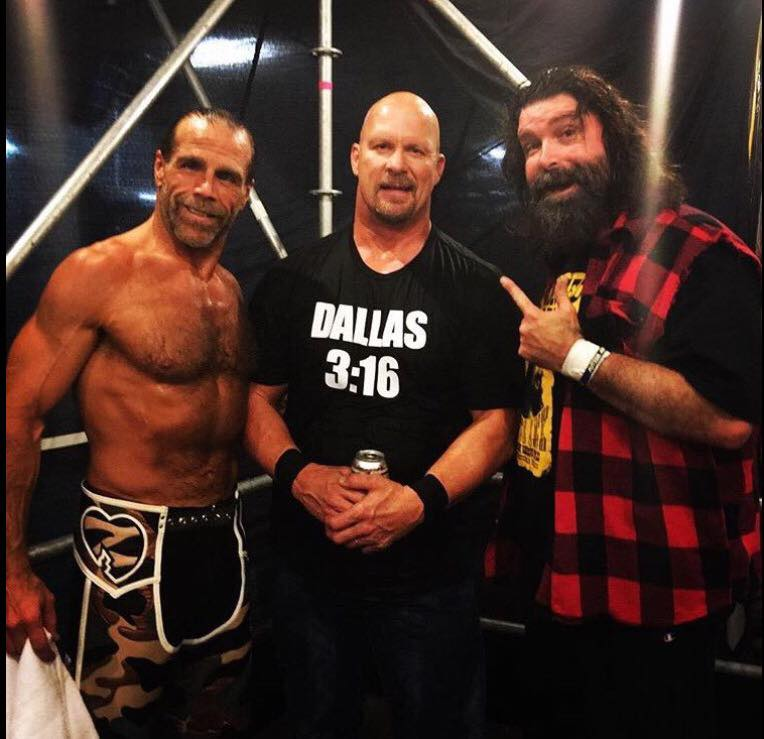 Awesome pic of mick foley shawn michaels steve austin together mickfoleyshawnmichaelsteveaustin m4hsunfo