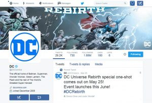 DC Comics twitter page with new DC Comics logo