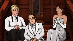 "ARCHER -- ""Bel Panto: Part II"" -- Episode 706 (Airs Thursday, May 5, 10:00pm e/p) Pictured: (l-r) Pam Poovey (voice of Amber Nash), Alan Shapiro (voice of Patton Oswalt), Cheryl (voice of Judy Greer). CR: FX"