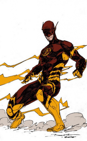 Brett Booth red and gold cowl Flash Wally West concept art