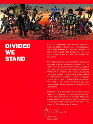 Marvel Now 2016 Divided We Stand mission statement