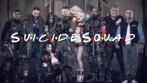 Suicide Squad movie with TV Friends logo