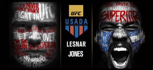 USADA Brock Lesnar and Jon Bones Jones banner UFC 200