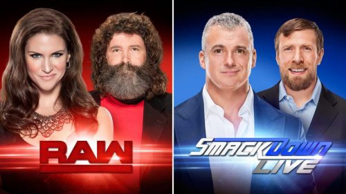 WWE Raw and WWE Smacdown Live Authority Stephanie McMahon Mick Foley vs Daniel Bryan Shane McMahon banner