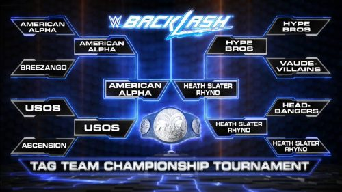Backlash 2016 final with Heath Slater and Rhyno vs America Alpha for the Smackdown Tag Team Championship belts brackets