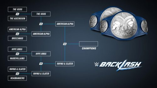 Backlash 2016 final with Heath Slater and Rhyno vs America Alpha for the Smackdown Tag Team Championship belts brackets wwe