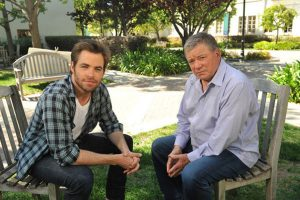 Chris Pine and William Shatner actors in Star Trek portraying Enterprise Captain James T. Kirk