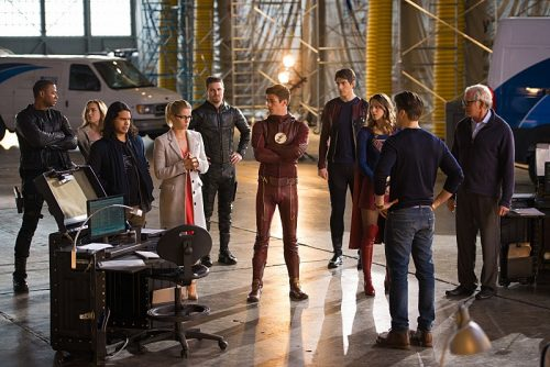 "DC's Legends of Tomorrow --""Invasion!""-- Image LGN207c_0156.jpg -- Pictured (L-R): David Ramsey as John Diggle, Caity Lotz as Sara Lance/White Canary, Carlos Valdes as Cisco Ramon, Emily Bett Rickards as Felicity Smoak, Stephen Amell as Oliver Queen, Grant Gustin as Barry Allen, Brandon Routh as Ray Palmer/Atom, Melissa Benoist as Kara/Supergirl, Nick Zano as Nate Heywood and Victor Garber as Professor Martin Stein -- Photo: Diyah Pera/The CW -- © 2016 The CW Network, LLC. All Rights Reserved."