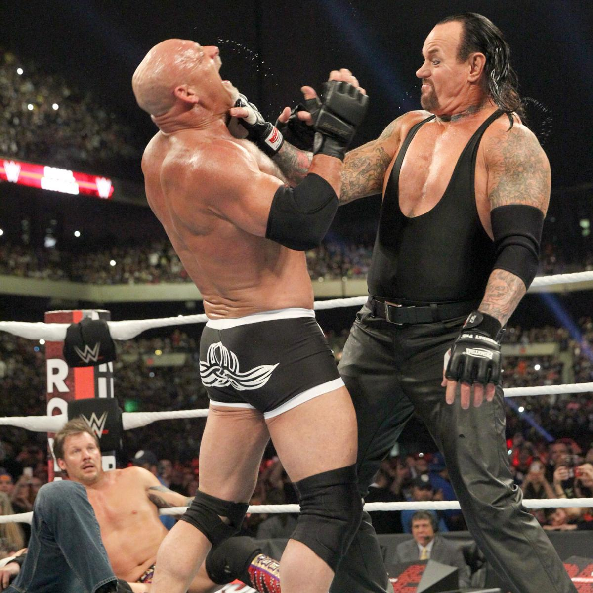Goldberg And Lesnar Meet In The Ring