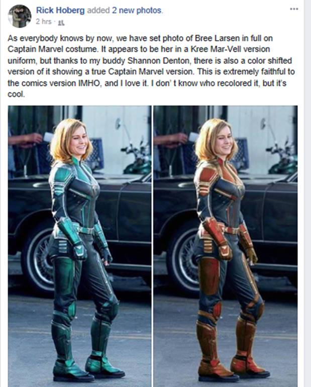 klar in Sicht Mode-Design Großhandelspreis FIRST LOOK At Actress Brie Larson As Captain Marvel In ...