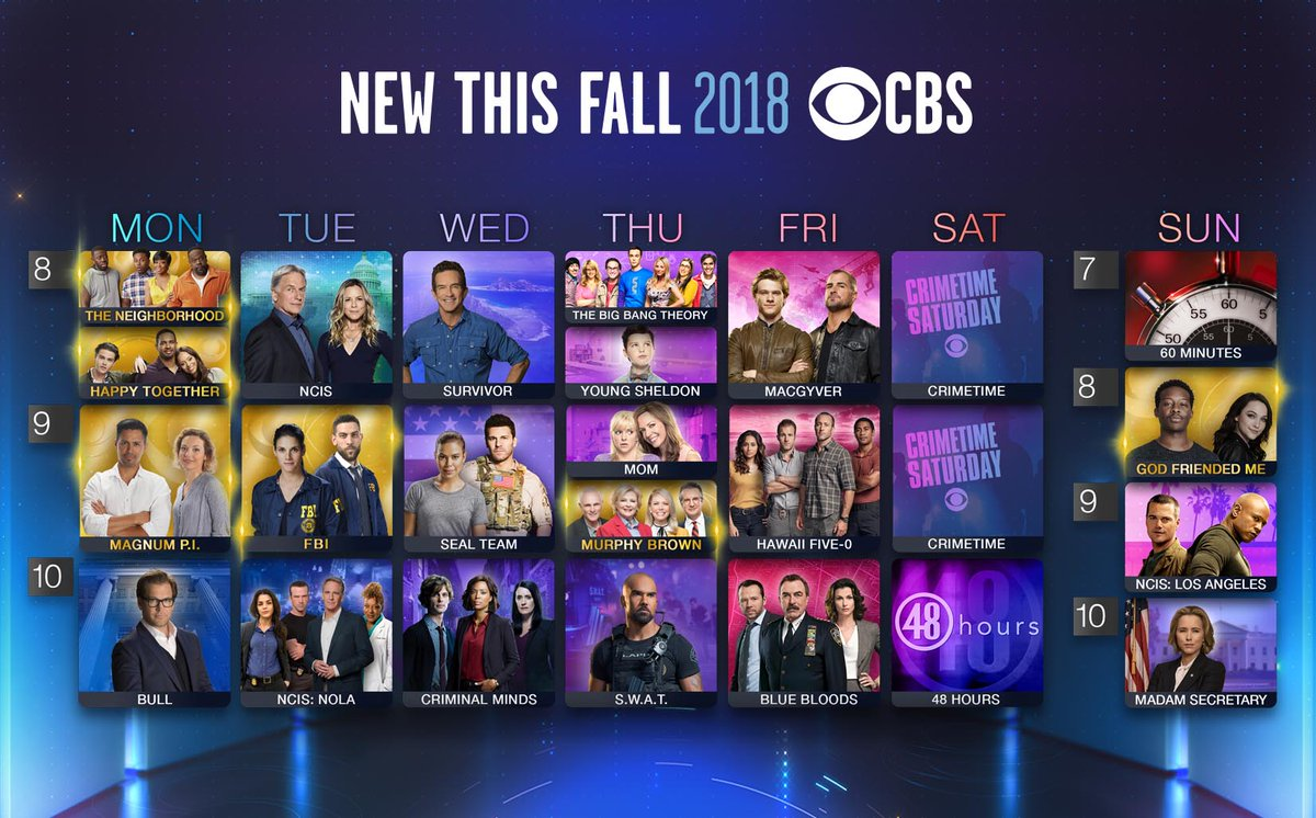CBS Unveils Fall 2018-19 TV Schedule As Six New TV Shows