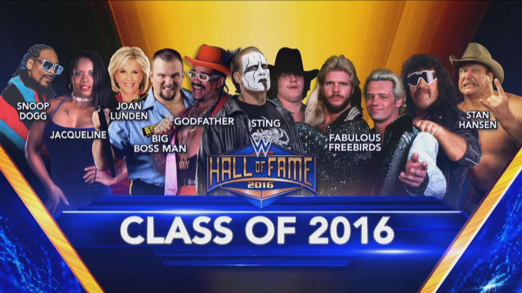 WWE Hall of Fame Class of 2016 Highlights (Godfather, Stan Hansen, Fabulous Freebirds, Sting ...