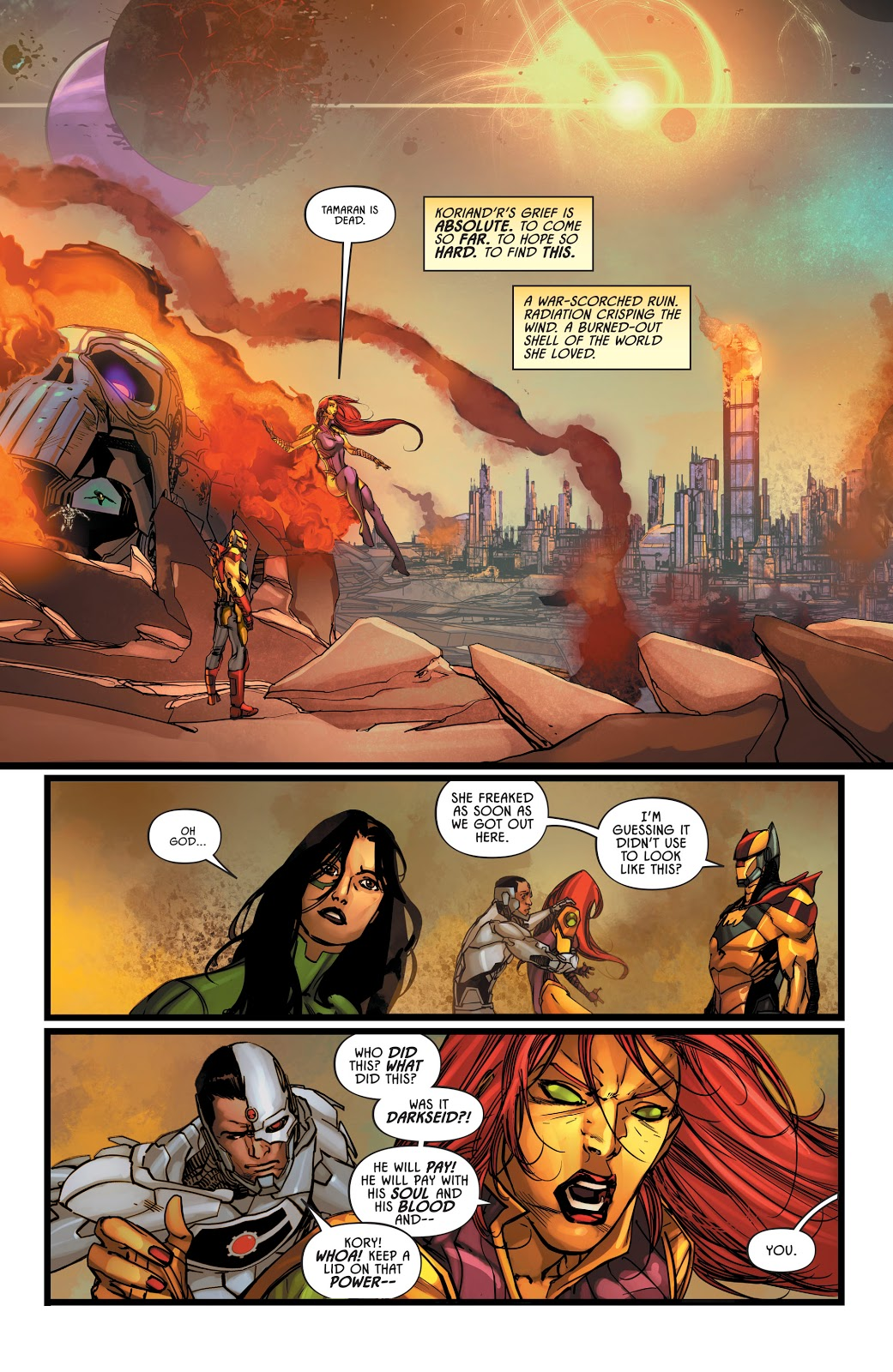 Dc Comics Universe Justice League Odyssey 6 Spoilers Darkseid Is The Last Of The New Gods Plus Azrael Starfire The Rest Of Jlo In Big Trouble Inside Pulse